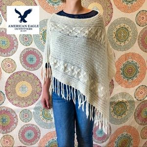 American Eagle Neutral Knit Poncho Sweater